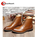 2016 new Genuine leather boots for men 38-43 plus size outdoor boots pure color male lacing casual boots hot sale
