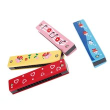 SZ-LGFM-Wooden HArmonica For Child Kids Music Educational Toy-Random Pattern