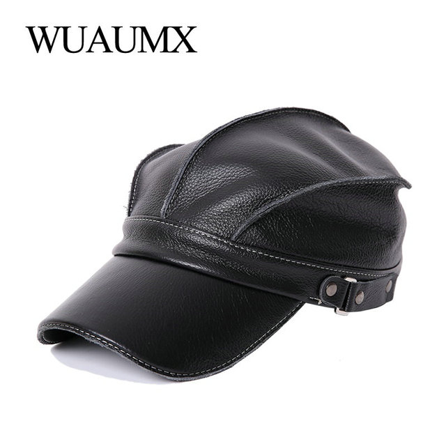 Wuaumx High Quality Real Cowskin Men's Baseball Caps Cowhide Cap Fall Winter Genuine Leather Hat For Women Warm Cow Leather Hat