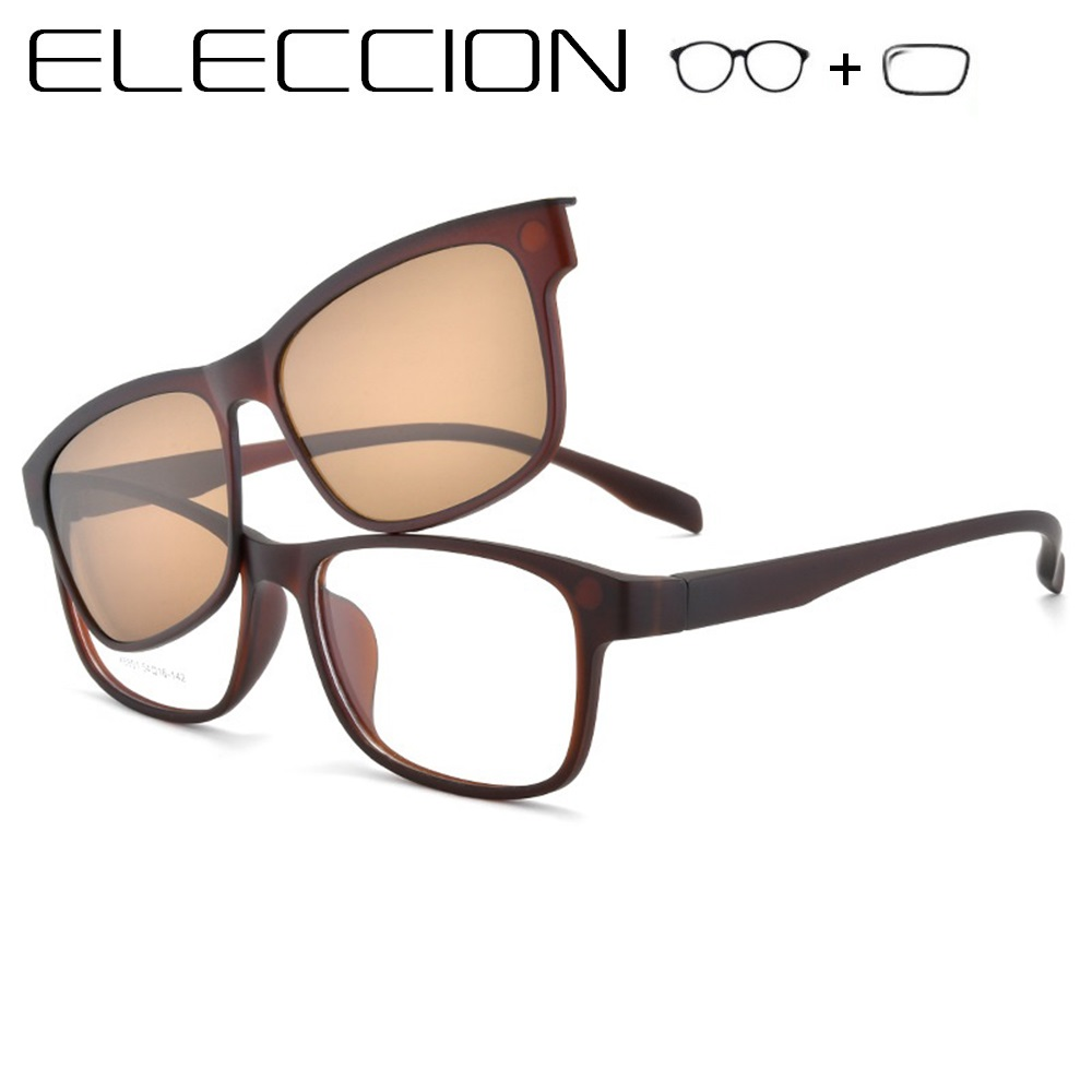 ELECCION TR90 Prescription Glasses Mne Women Myopia Spectacles Whit Polarized Frames