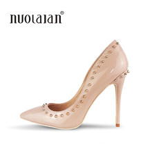 Rivets Shoes Woman High Heels Pointed Toe Sexy 12CM Heels Nude Patent Leather Ladies Shoes Fashion Wedding Shoes Pumps(China)
