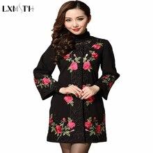 50-60 years  plus size Fall/winter mother women's Wool Coat ethnic  Flowers Embroidery long winter coats Women Plus Size
