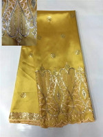 most popular outstanding design gold sequins embroidered African George lace dress fabric, 5 yards / lot !B8-3-16