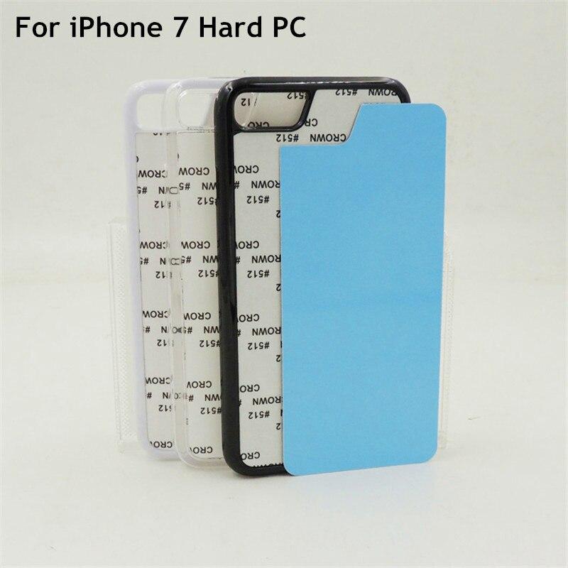 2D Sublimation Blankt plastfodral för iPhone 7 7 Plus 8 8 Plus Hårt omslag aluminiumplåt och lim 10st