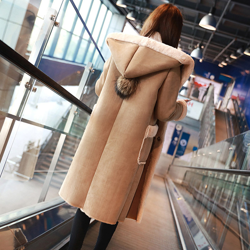 2019 Long Faux Lamb Wool Patchwork Overcoats Shearling Coats Winter Thick Warm Women Hooded Faux   Suede     Leather   Coats