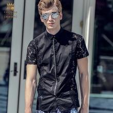 FanZhuan Free Shipping New fashion casual male men's man 2017 Summer short Sleeve slim gentleman lace black shirt 713009 blouse