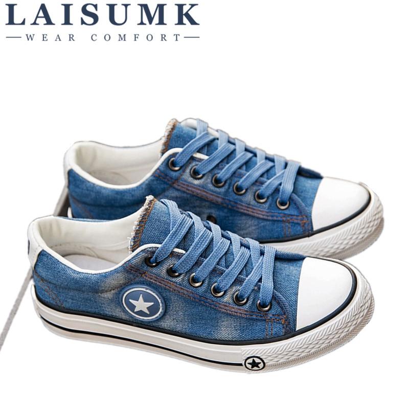 Mujeres Las Moda Zapatillas Lona Nueva Denim Zapatos deep De 2019 Tenis Tamaño Laisumk Pisos 35 Azul Estrellas Blue Casuales Cesta 44 Femenino w7BxyE75fq