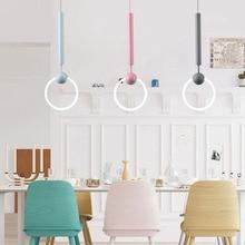 Nordic Loft Art LED Pendant Lights Glass Ring Dining Room Decor Pendant Lamp Gold Ring Cafe Restaurant Kitchen Fixtures Lighting цена
