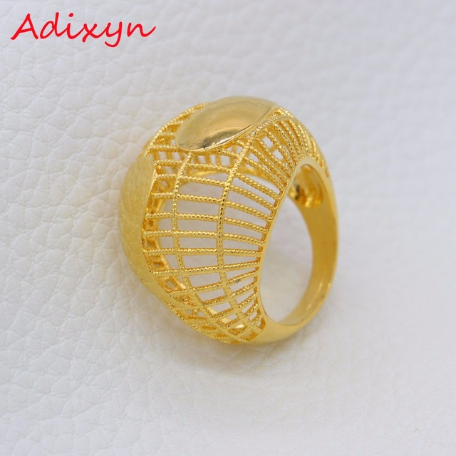 Adixyn NEW African Hollow Rings For Women Men Gold Color Wedding Bands Jewelry Arab Party