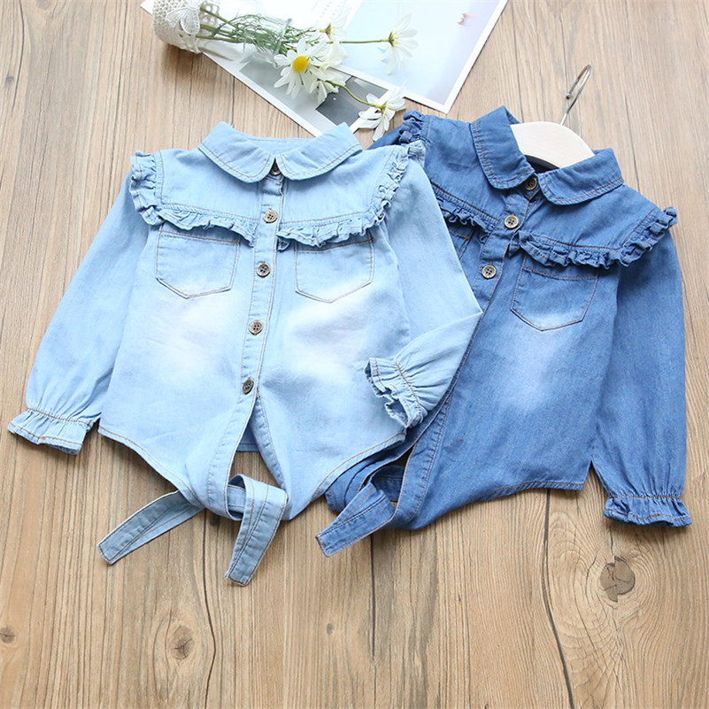 2020 New Style Spring Baby Girls Blouse Turn-down Collar Ruffles Children Cownboy jeans Shirts Kids High Quality Outerwear 1