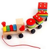 Trem de madeira para crianças  blocos de madeira de varejo com formato geométrico  presente de aniversário para crianças