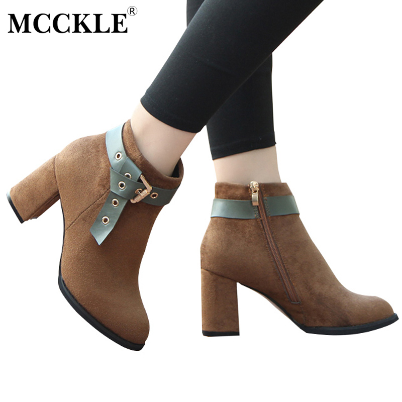 MCCKLE Female Fashion Zip Buckle Sexy Ankle Boots Women Thick Heel Autumn Office Comfortable Flock Black Style High Heels qiu dong in fashionable boots sexy and comfortable women s shoes the new national style high heel heel thick heel