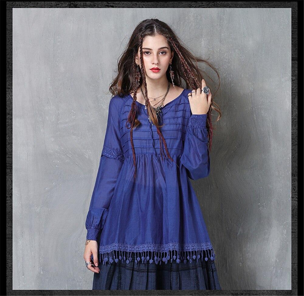 Vintage Women Slik Tassel Blouse 2019 Autumn Silk Women's Blouse Shirts Cotton Pullover Blouses Solid Dark Blue Top B9225 (9)