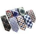 Mens Cotton Tie Plaid Skinny Ties Retro Cotton Narrow Tie Necktie British Style Blue Red Green Navy Slim Neckties Handmade