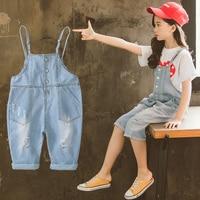 2019 летняя одежда для девочек подростков, одежда для маленьких девочек, комплекты одежды, vetement fille Ete, хлопковая рубашка с принтом + комбинезон