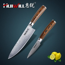 HUIWILL brand VG10 Damascus stainless steel kitchen Chef knife Paring Knife with forged Pakka wood handle