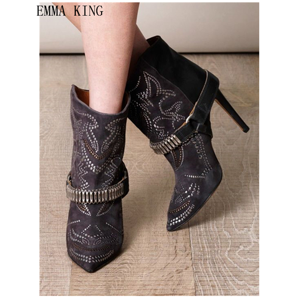 Emma King Slip On Ankle Boots Rhinestones Thin High Heels Women Shoes Fashion Buckle Metal Chains Spring Autumn Patchwork BootsEmma King Slip On Ankle Boots Rhinestones Thin High Heels Women Shoes Fashion Buckle Metal Chains Spring Autumn Patchwork Boots