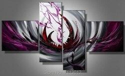 Hot nowoczesne Phoenix linia kwiat krajobraz obraz olejny na płótnie 4 Panel Art Set domu streszczenie obraz do dekoracji ścian do salonu