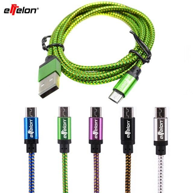 Effelon 20 cm/1 M/2 M Mikro USB Kablosu Şarj Data Sync Naylon USB Kablosu Için Android akıllı Telefon tablet PC için