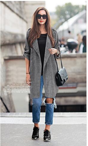 2016 new top moda mulher plus size 5xl blusa Casacos Coreano Cor pura de corpo inteiro manga comprida bodycon sólidos das Mulheres magras trincheira H10