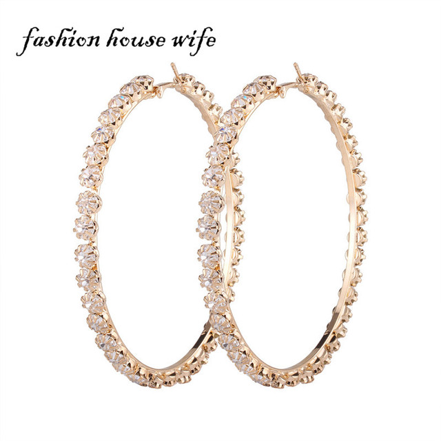 Punk Bling 90mm Rhinestone Large Hoop Earrings Fashion Gold Sivler Circle Round Earring For Women