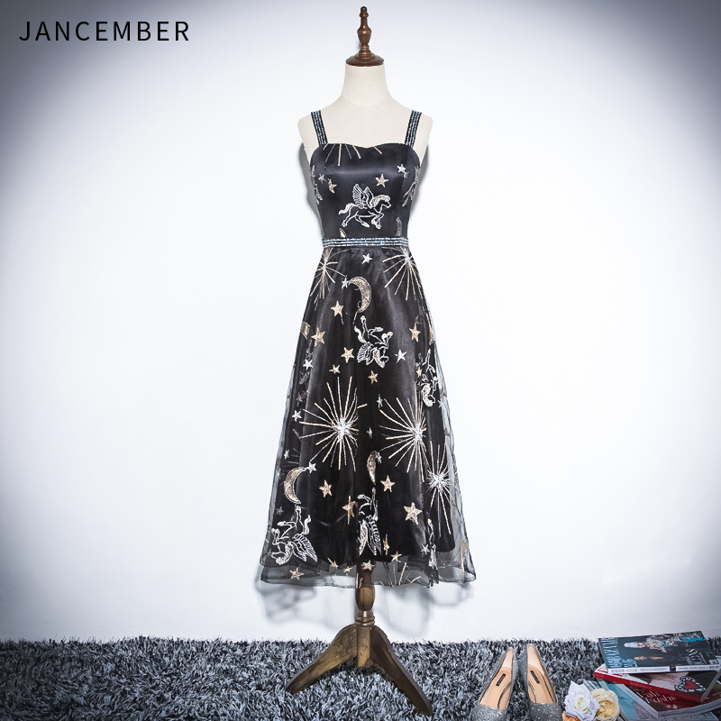 JANCEMBER 2019 Latest Light Luxury   Cocktail     Dresses   Sling Sweetheart Neck Backless Zipper Back Sleeveless Applique coctel   dress
