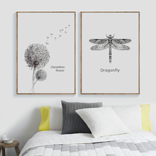 Dragonfly Dandelion Flower Black White Nordic Posters And Prints Wall Art Canvas Painting Pictures For Living Room Decor