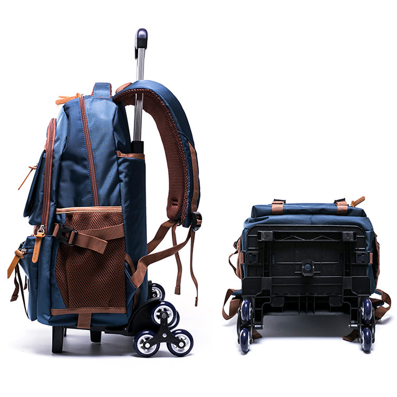 US $42 99 50% OFF|Grades 4 9 Kids Trolley Schoolbag Book Bags Boys girls  Backpack waterproof Removable Children School Bags With 3 Wheels Stairs-in