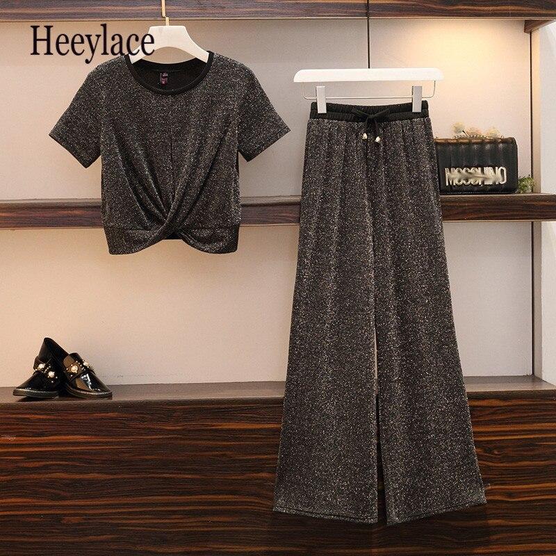 5xl Plus Size Summer Fashion 2 Pieces Set  Women Short Sleeve Top And Wide Leg Long Pants Set Designer Lounge Wear Chandal Mujer