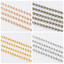 100m/roll 1.5mm Iron Ball Bead Chains for Necklace Bracelet Jewelry Making Adjustable Lead and Nickel Free Antique Bronze Color