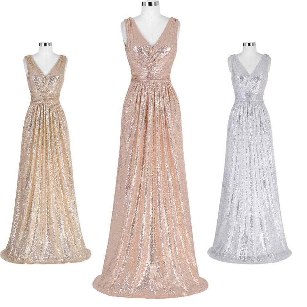 V NECK Sequin Trim GLITTER   Bridesmaid     Dresses   Long Sleeveless Gown