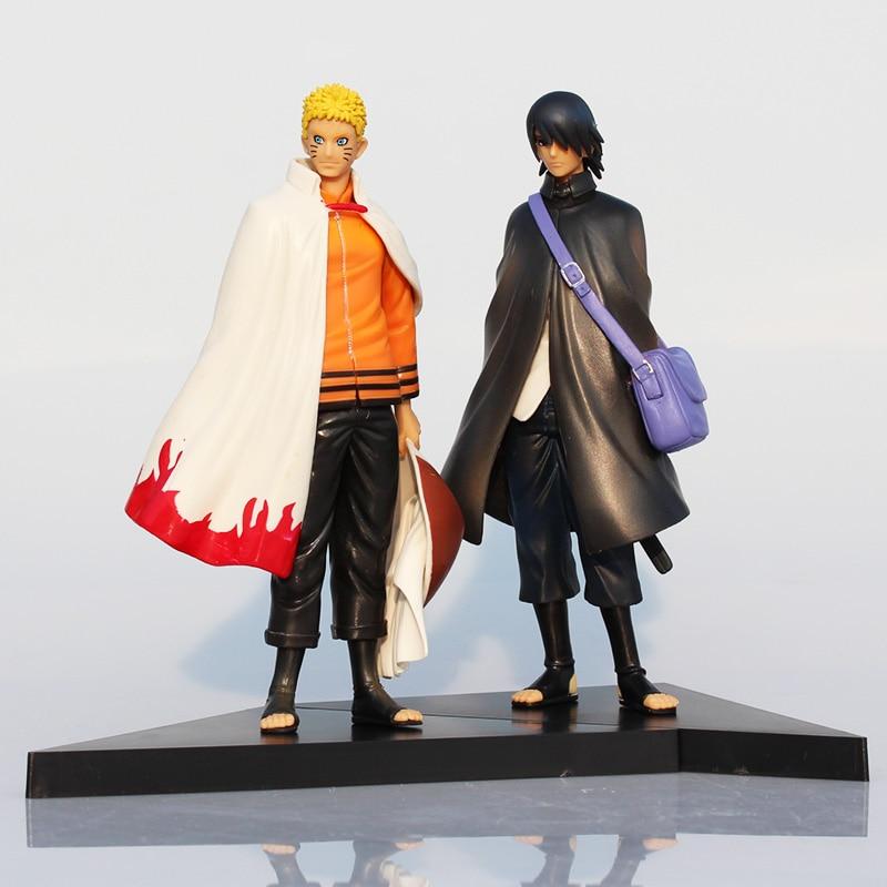 2 st / set 16cm Naruto Figur Uchiha Sasuke Naruto Uzumaki PVC Figur Toy Modell Dollar Great Gifts