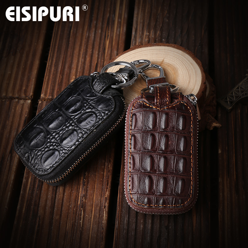 Crocodile Pattern Genuine Leather Key Holder Organizer Men Car Key Wallets Housekeeper Male Keychain Covers Hasp Key Case Bag
