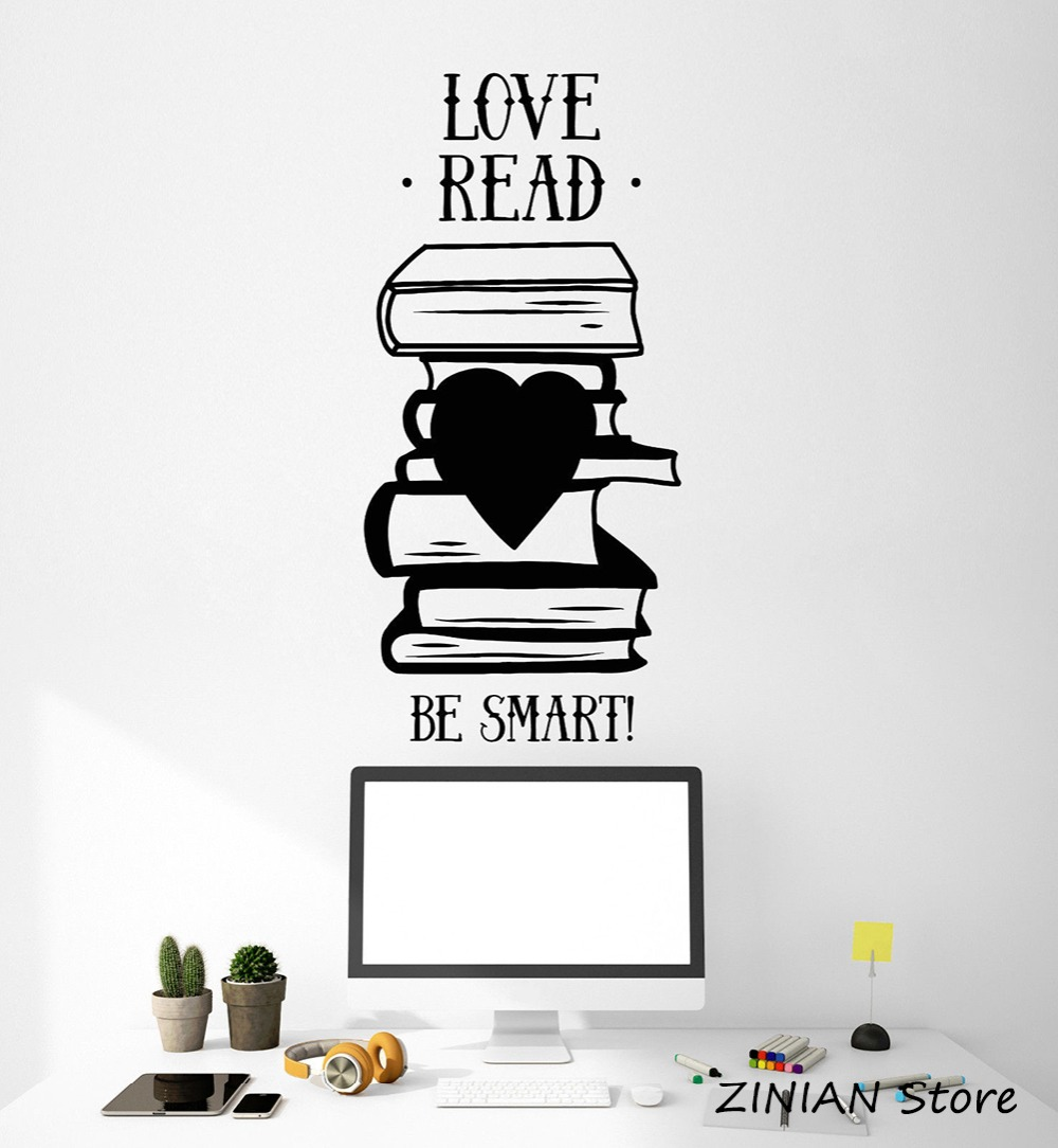 Home & Garden Books Quote Wall Sticker Library Book Shop Reading Room Stickers Removable Vinyl Wall Decals Kids Room Bedroom Wallpaper Z101 Wall Stickers