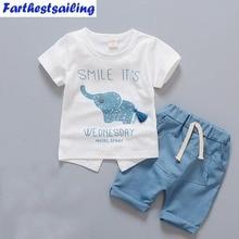 Novorozenec Baby Boy oblečení Letní dětské oblečení s krátkým rukávem T-košile Topy Pruhované kalhoty Děti Bebes oblekyToddler oblečení Set