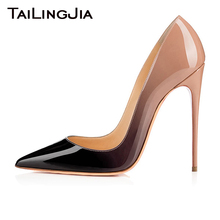 Women Pumps High Heel Stiletto Party Shoes Gradual Color Sexy Brand Ladies Patent Leather Basic Dress Evening Pointed Toe Bridal