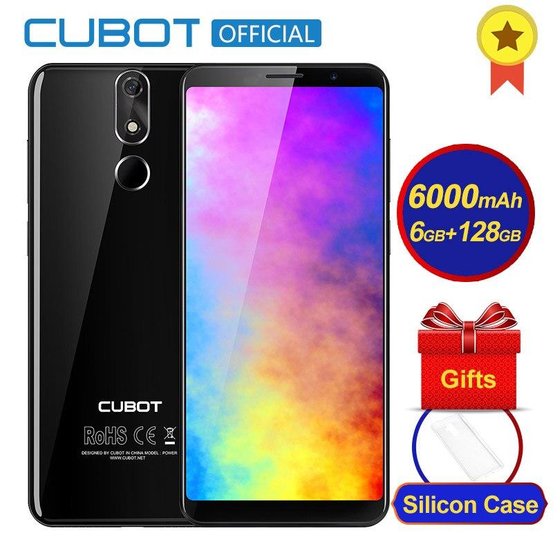 Poder Cubot Android 8.1 Helio P23 6 gb de RAM 128 gb ROM Octa Núcleo 6000 mah 5.99 Polegada FHD + smartphones lente 6 p 20.0MP 4g LTE Celular