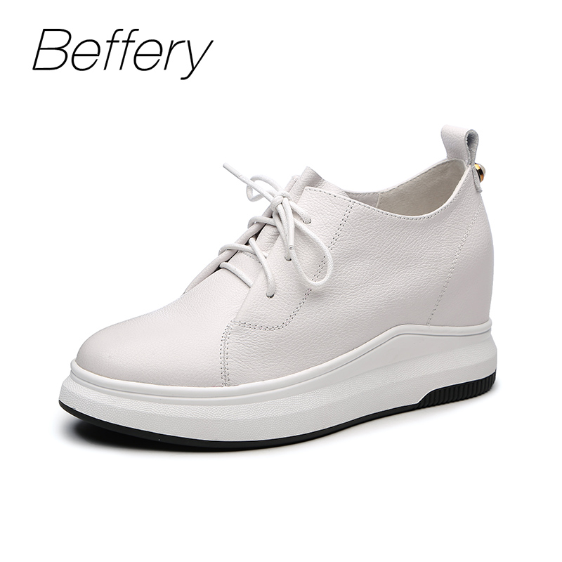 Beffery Spring Autumn Genuine Leather Shoes Women Wedges Sneakers Women Fashion Lace-up High heels Casual Platform Shoes beffery spring summer genuine leather casual sneakers women flat breathable shoes fashion lace up shoes women platform shoes