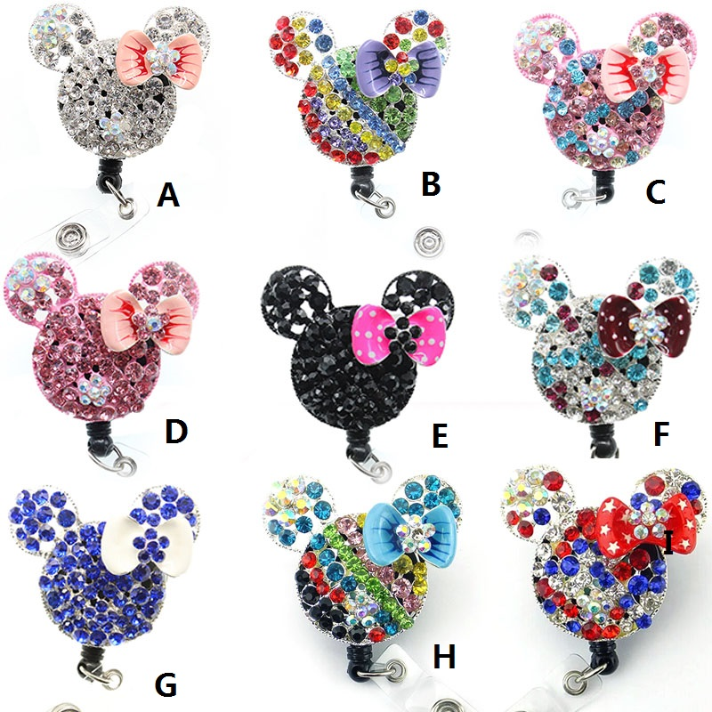 50PCS/LOT free shipping 9kinds Hot sell Cute Cartoon rhinestone Mickey Mini Mouse Head Retractable id badge holder Reel