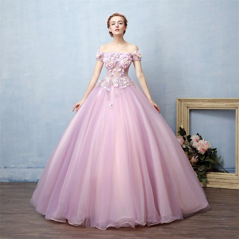 4e6de7737 Caminar al lado de TI vestidos de quinceañera Rosa lila con hombros  descubiertos de 15 anos vestido de fiesta de graduación flores quinceañeros  2019