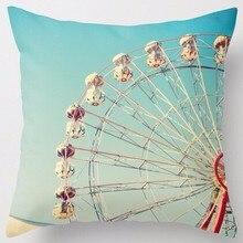 Creative Design Love Ferris Wheel on Blue Sky Vintage Fun Pillow Sham Zippered Square Throw Pillowcase Two Sides Cushion Case