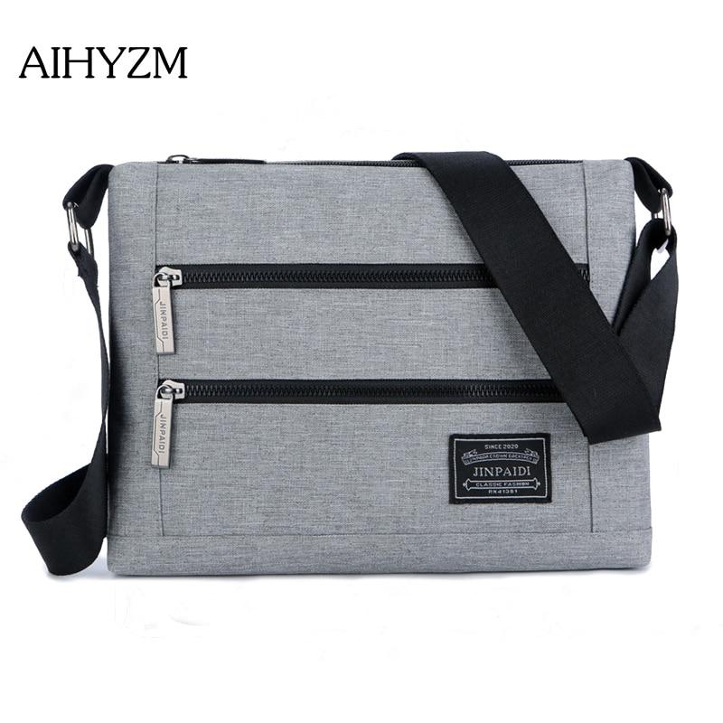AIHYZM New Crossbody Bags For Men Business Oxford Bag Double Zipper Designer Casual Shoulder Bags Brand Men Messenger Bags
