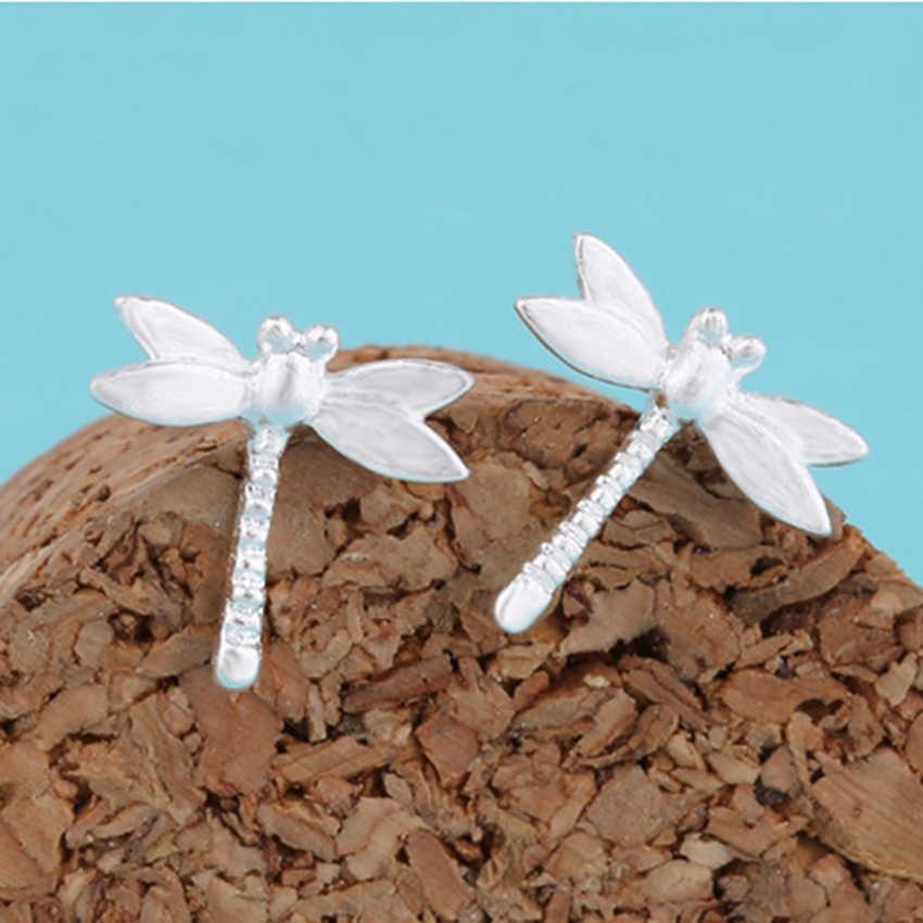 QIAMNI 925 Sterling Silver Dragonfly Animal Stud Presente de Natal Brincos Jóias Da Dama de honra Do Partido do Dia Das Bruxas para Mulheres Meninas