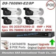 Встроенный plug & play NVR DS-7608NI-E2/8 P + 4 шт. Hikvision DS-2CD2T42WD-I3 30 м ИК-диапазоне 4MP IP веб-камера poe