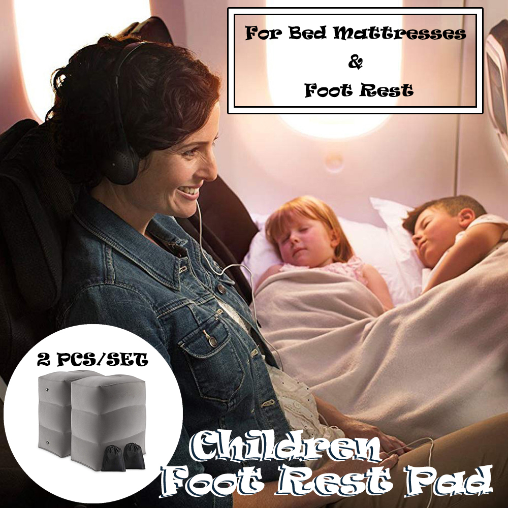 2Pcs/Set Kids Toddler Useful Inflatable Portable Travel Footrest Pillow Baby Girls Boys Adjustable Plane Train Bed Foot Rest Pad