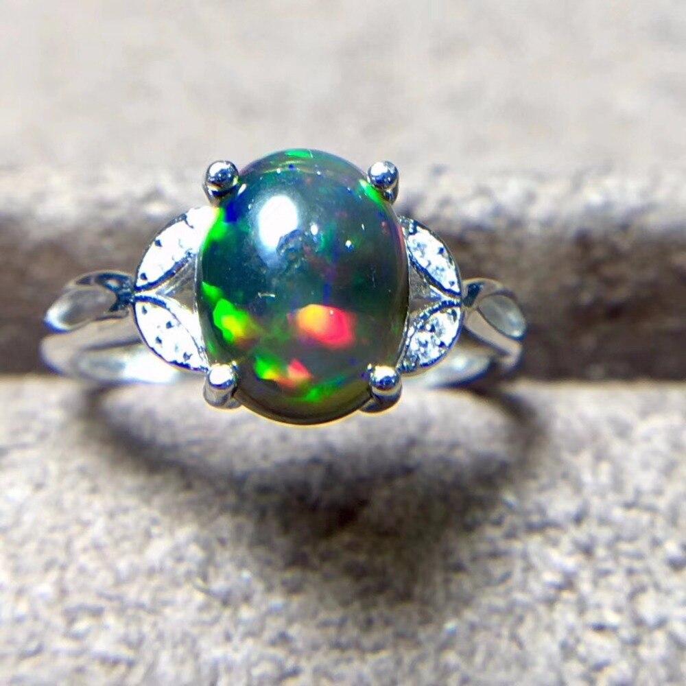 Bague opale noire naturelle, argent 925, gemme 3 carats, Flash feu - 2