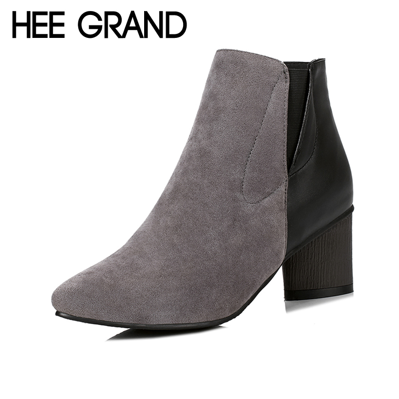 HEE GRAND Sexy Winter Warm Ankle Boots Women Pointed Toe Shoes Slip on Solid PU Mixed Color Ankle Boots Shoes Size 35-43 XWX6226