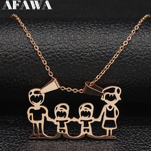 2019 Family Stainless Steel Necklace Women jewlery Silver Color Dad Mum and Son Statement Necklace Jewelry gargantilla N18018 2019 family stainless steel necklace women jewlery silver color dad mum and son statement necklace jewelry gargantilla n18018