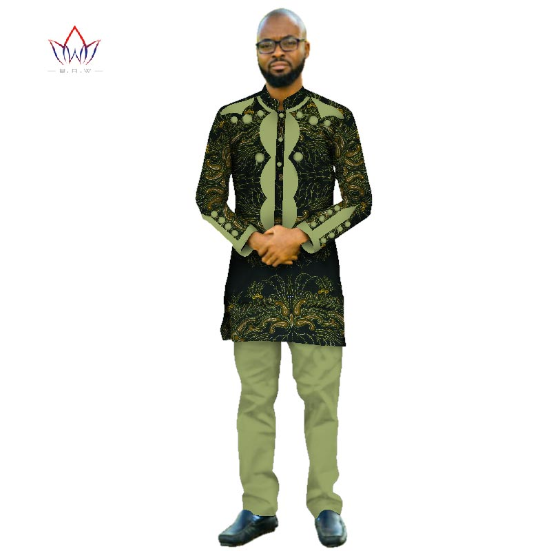 Africa Style 2018 Customized Pants Suits for Men Dashiki Plus Size Denim Men Suit Fashion Traditional African Clothing WYN415