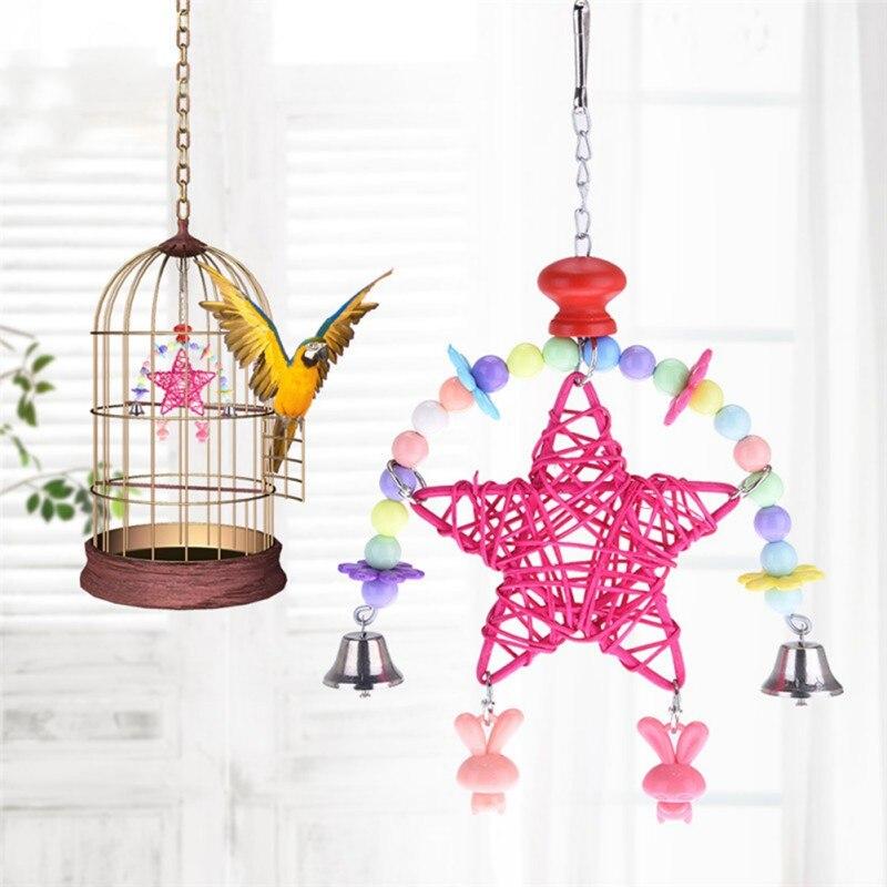 Zuinig Leuke Hartvorm Ster Windgong Swing Plank Speelgoed Huisdier Vogel Papegaai Speelgoed Opknoping Roze Rose Vogel Speelgoed Hot Klanten Eerst